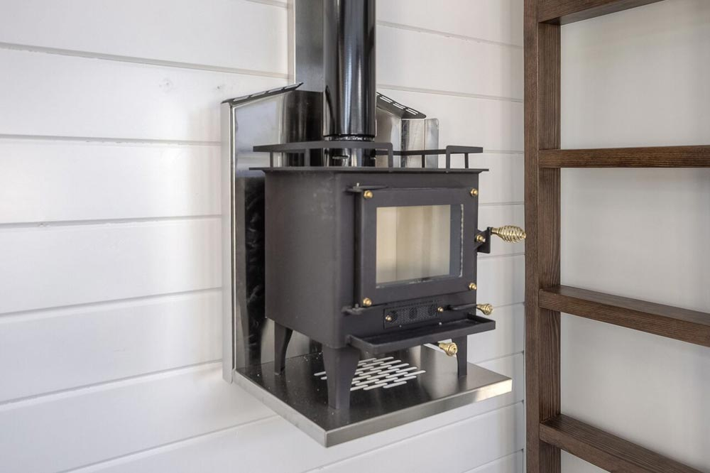 Wood Stove - Lake Cabin by Custom Container Living