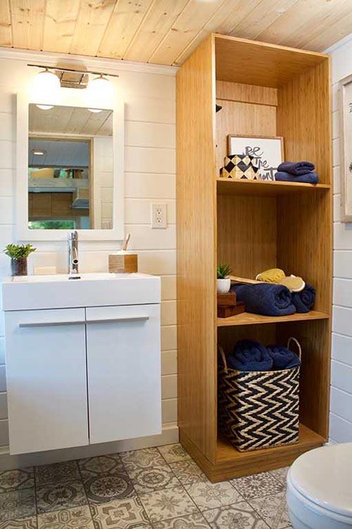 Bathroom Storage - Live/Work Tiny Home by Tiny Heirloom