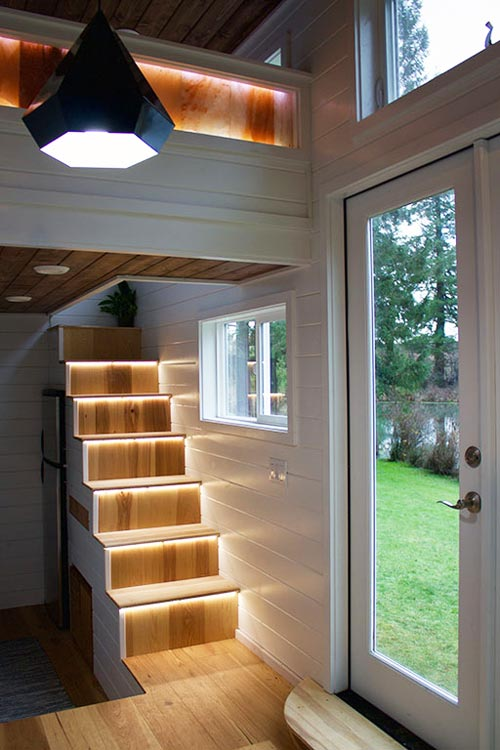 Lighted Stairs - Tiny Home of Zen by Tiny Heirloom