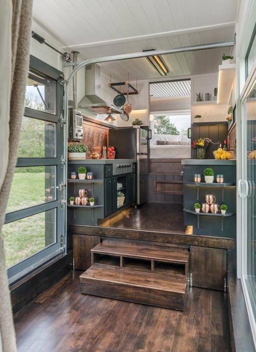 Raised Platform Kitchen - Escher by New Frontier Tiny Homes