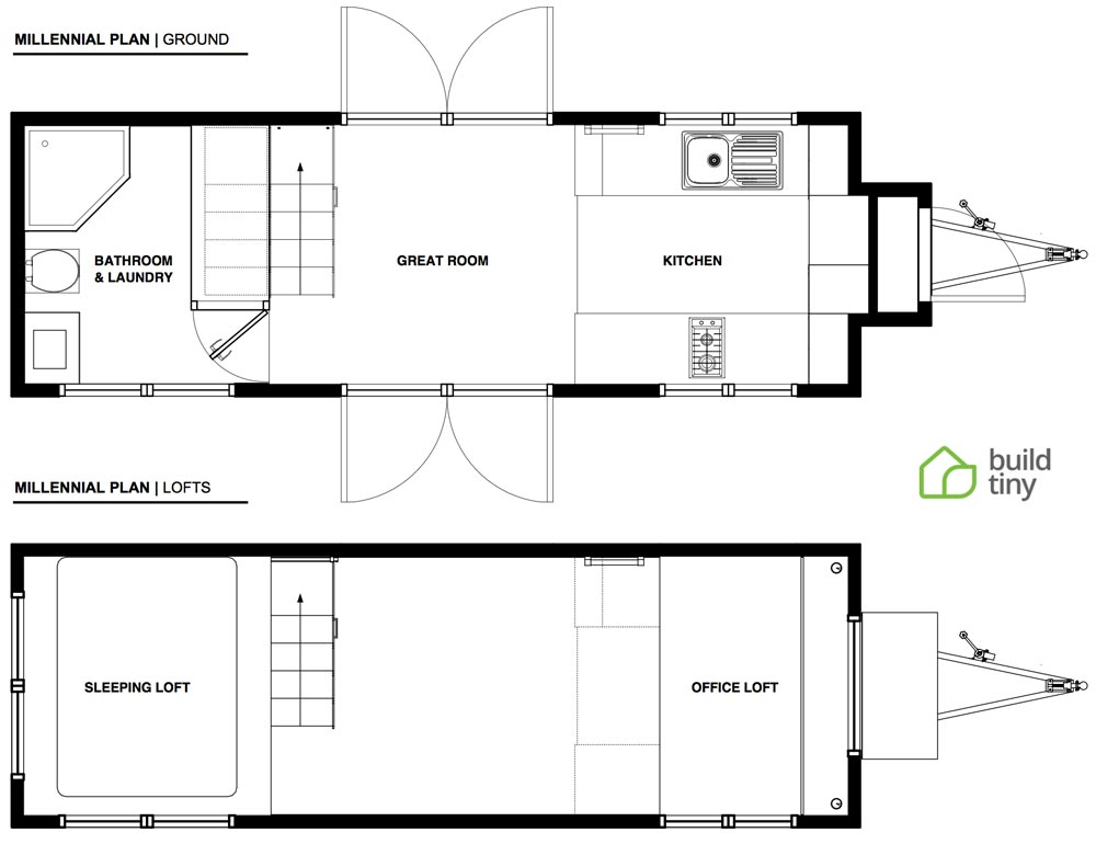Floor Plan - Millennial Tiny House by Build Tiny
