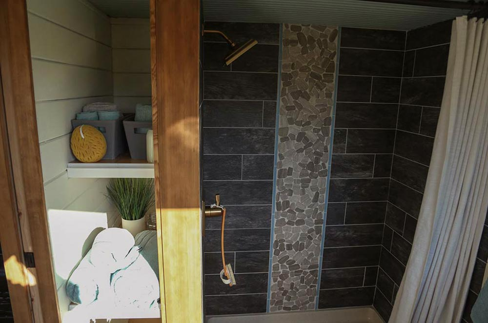 Shower - Rustic Tiny Home by Tiny Heirloom