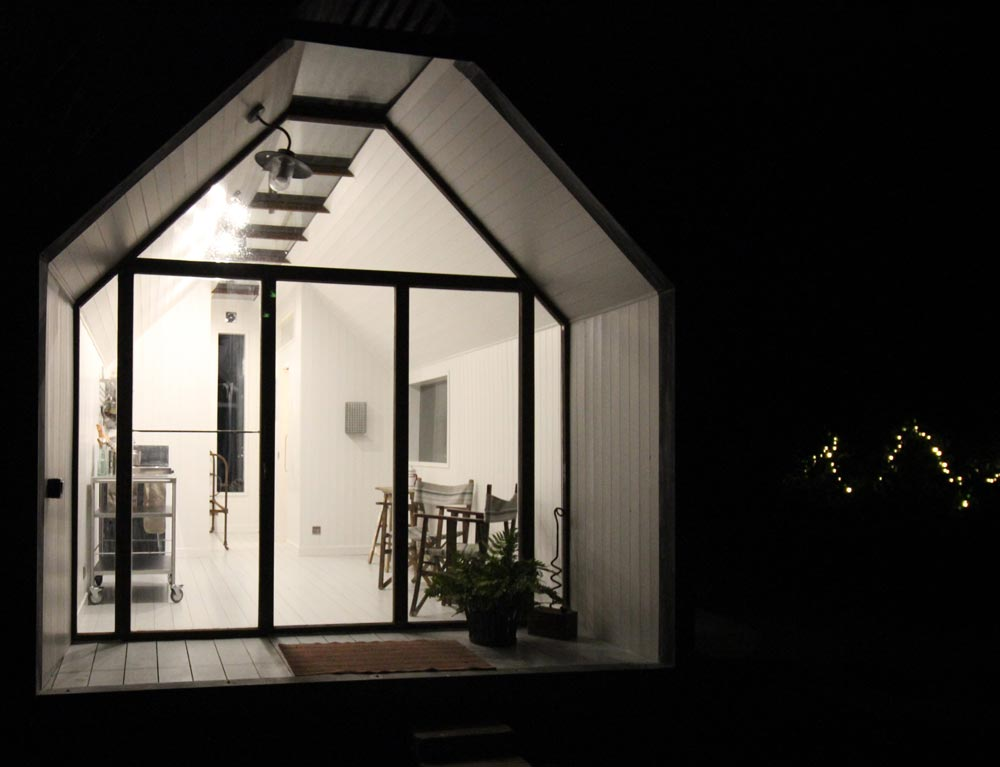 Nighttime View - Mini Cabin by Contemporary Shepherds Huts