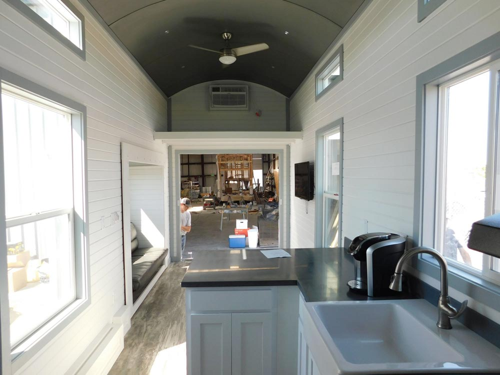 View From Kitchen - Sawtooth Toy Hauler by Tiny Idahomes