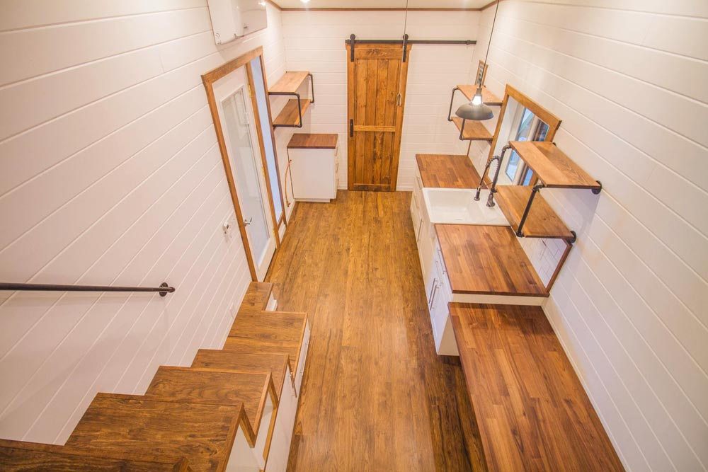 View From Loft - White Modern Farmhouse by Liberation Tiny Homes