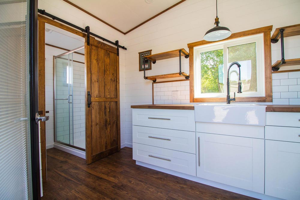 White Cabinets - White Modern Farmhouse by Liberation Tiny Homes