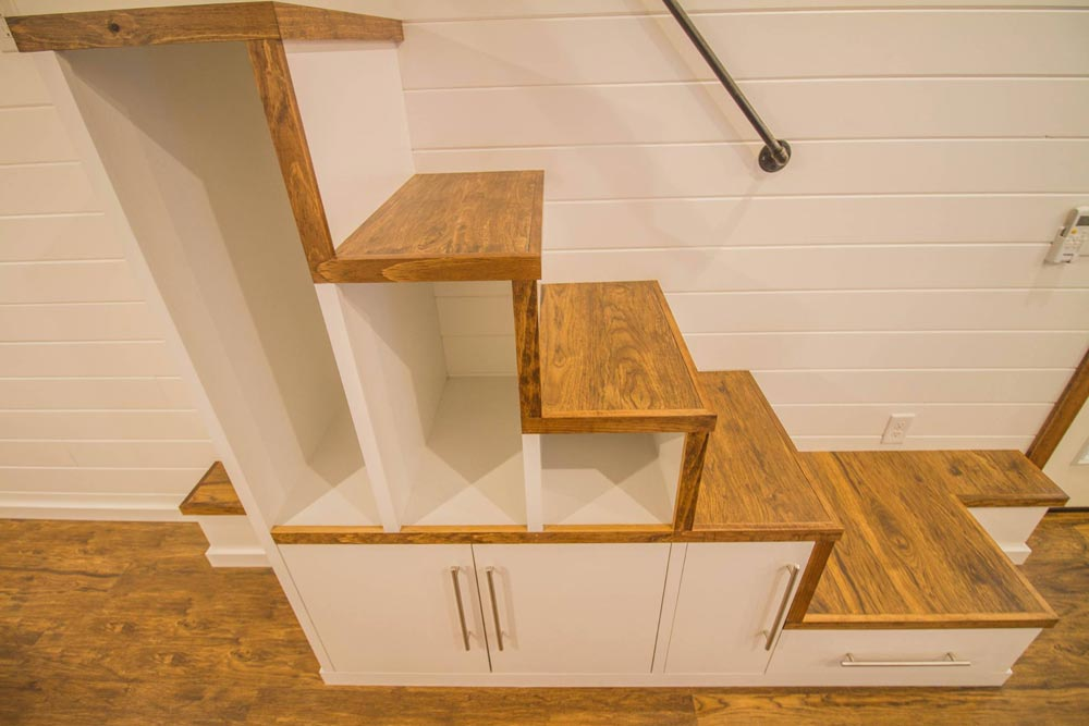 Storage Stairs - White Modern Farmhouse by Liberation Tiny Homes