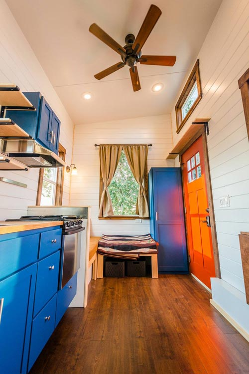 Closet Behind Front Door - Julia's Tiny House by Mitchcraft Tiny Homes