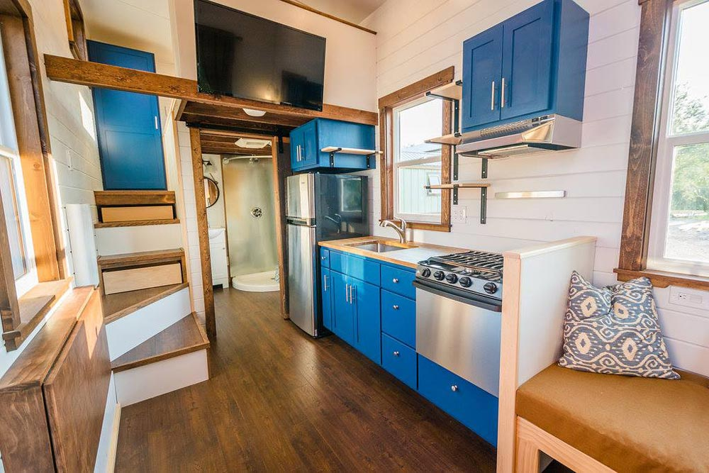 Blue Cabinetry - Julia's Tiny House by Mitchcraft Tiny Homes