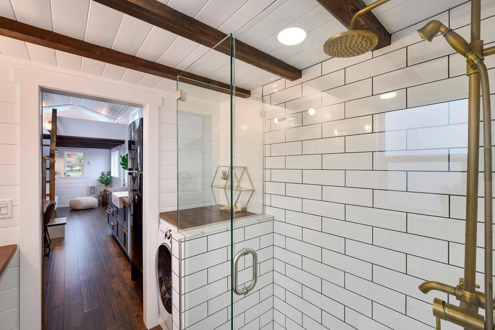 Glass/Tile Shower - Custom 34' Loft Edition by Mint Tiny Homes