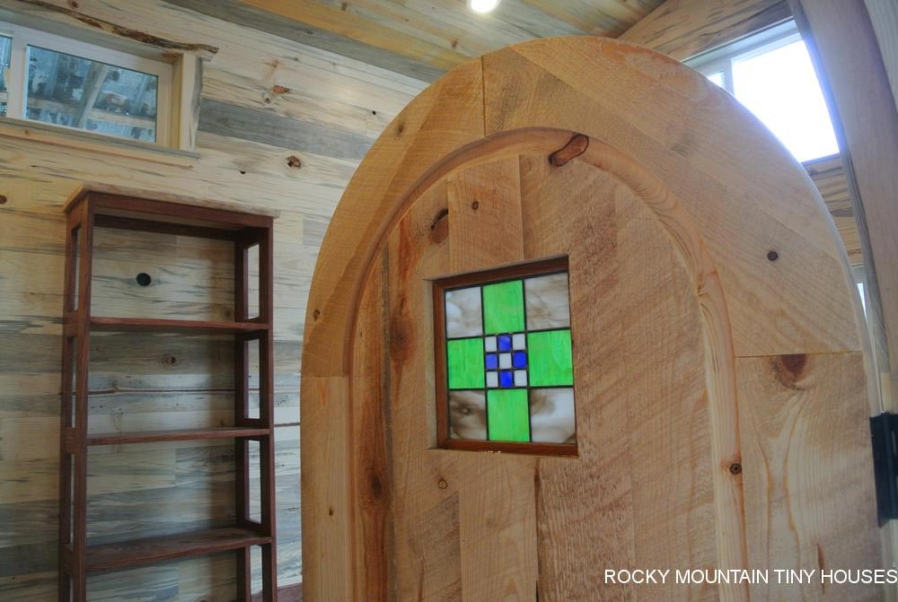 Stained Glass Inset - La Luna Llena by Rocky Mountain Tiny Houses