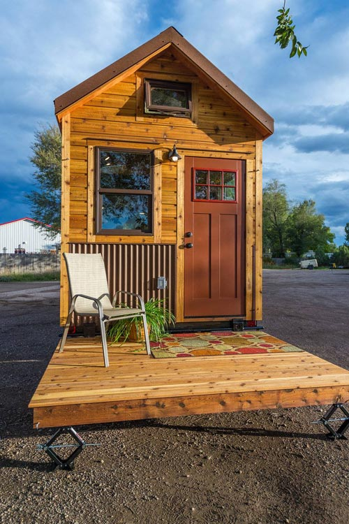 Tiny House Deck - Davis' Off-Grid Tiny House by Mitchcraft Tiny Homes