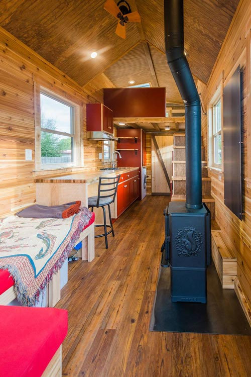 Moreso Stove - Davis' Off-Grid Tiny House by Mitchcraft Tiny Homes