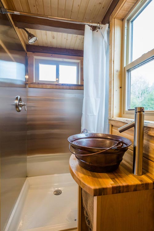 Sink & Shower - Davis' Off-Grid Tiny House by Mitchcraft Tiny Homes