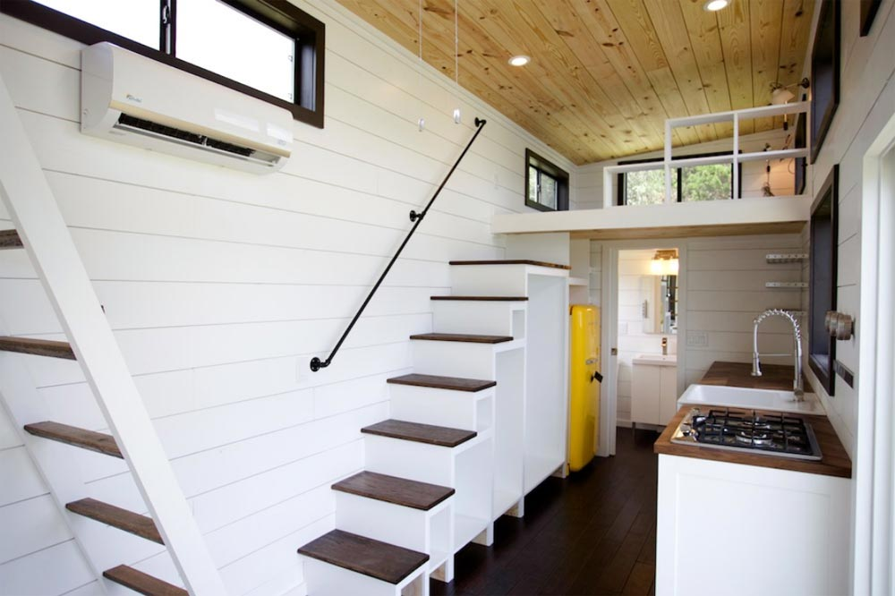 Stairs w/ Pipe Handrail - Texas Waterfront by Nomad Tiny Homes