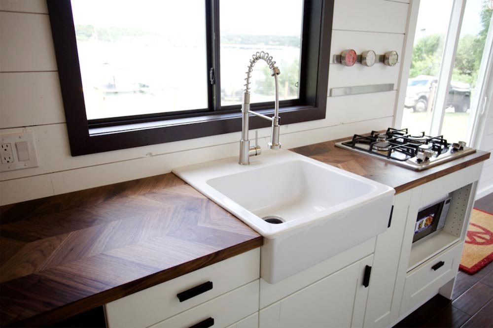 Walnut Herringbone Counter - Texas Waterfront by Nomad Tiny Homes
