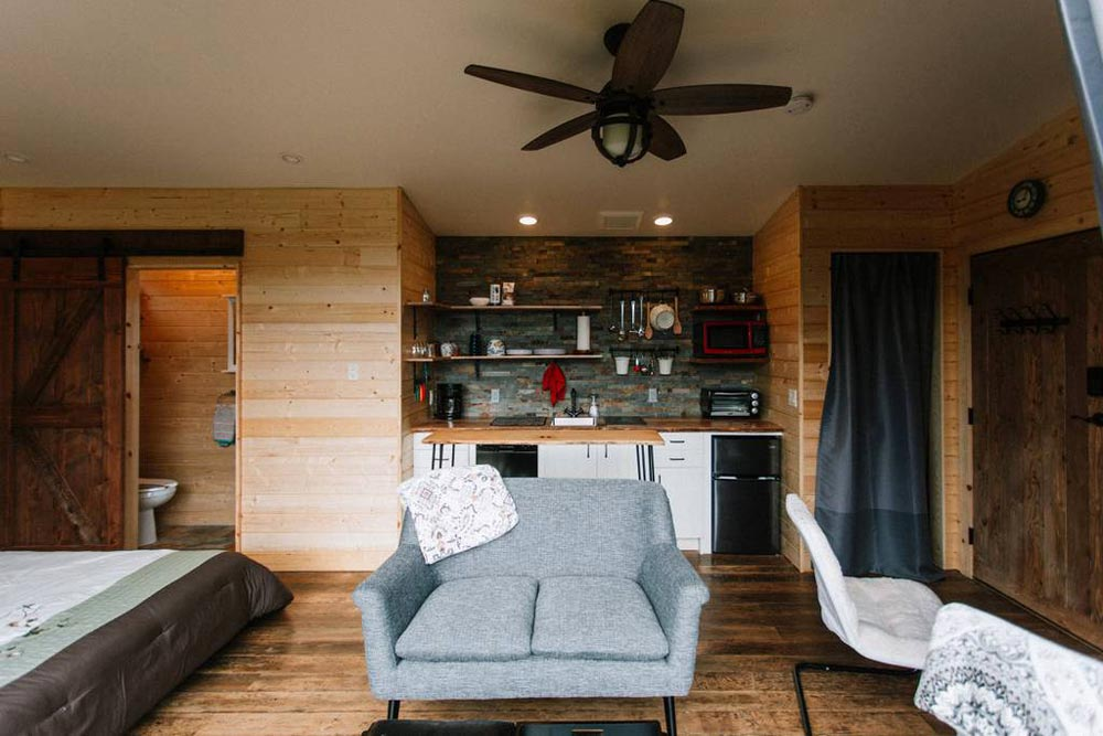 Living Room & Kitchen - Mt Hood View Tiny House