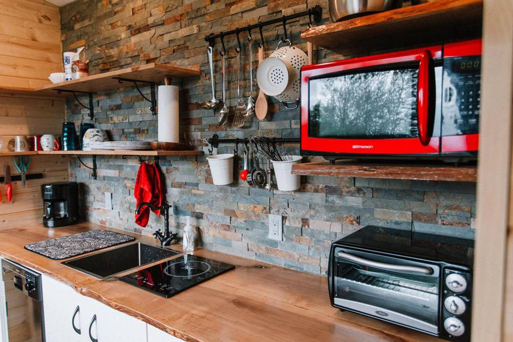 Slate Tile Backsplash - Mt Hood View Tiny House