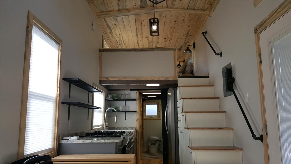 Kitchen & Storage Stairs - Tiny Solar Home by Alpine Tiny Homes
