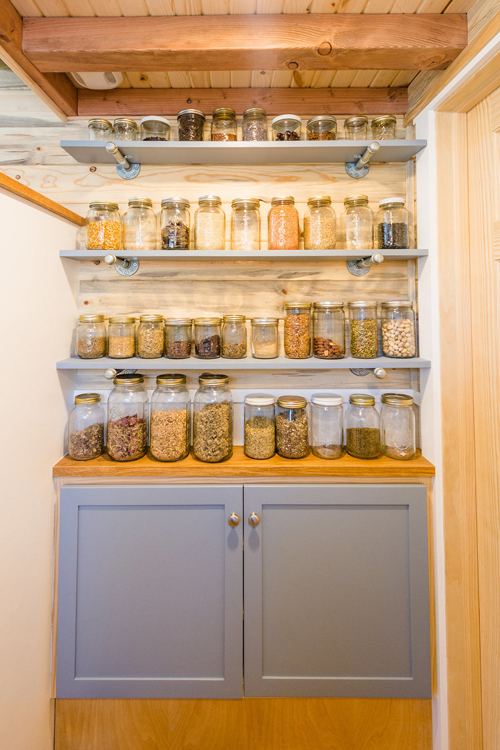Jar Storage - Tara's 33' Gooseneck Tiny House by Mitchcraft Tiny Homes