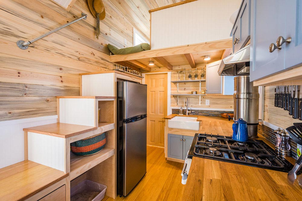 Storage Stairs - Tara's 33' Gooseneck Tiny House by Mitchcraft Tiny Homes