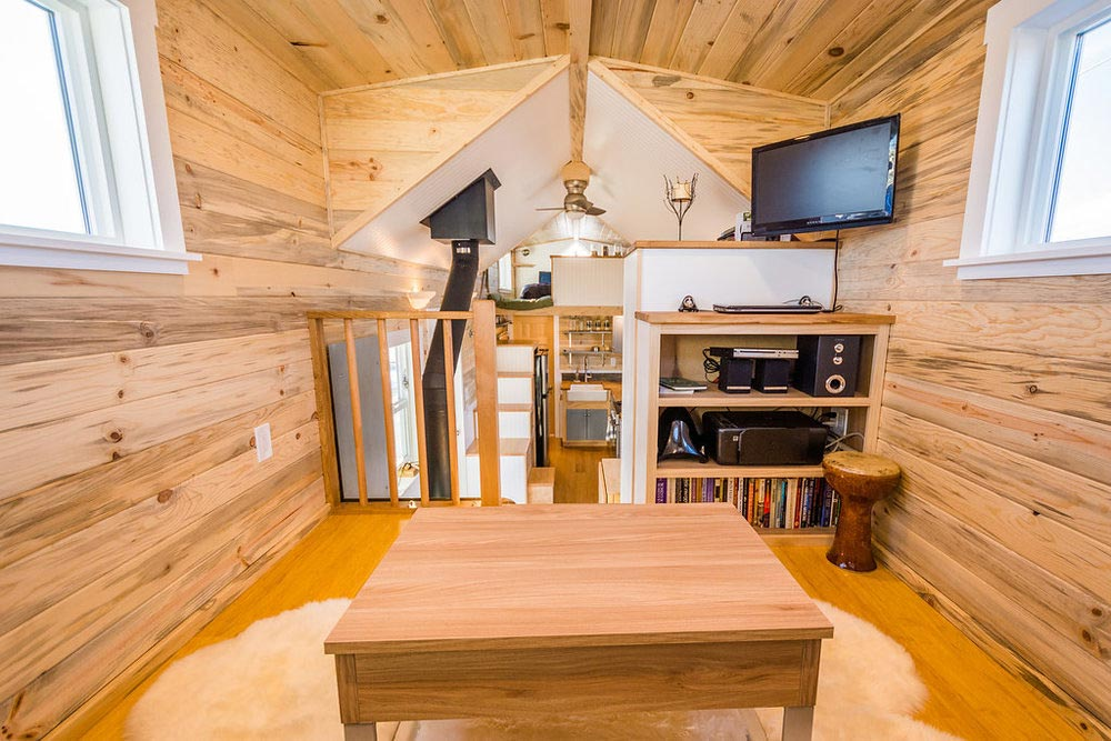 Entertainment Center - Tara's 33' Gooseneck Tiny House by Mitchcraft Tiny Homes