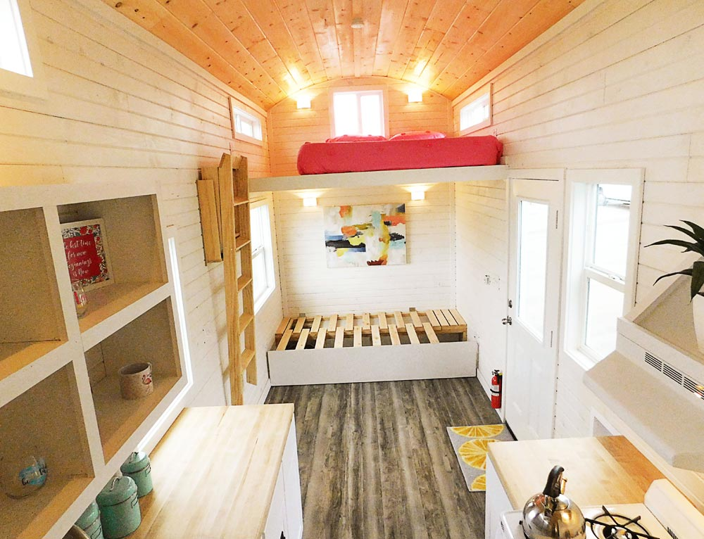 Slide Out Sofa Bed - Artist's Tiny House by Tiny Idahomes
