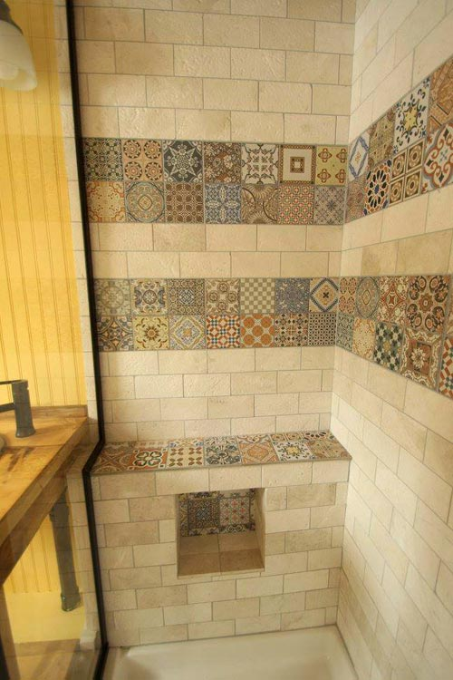 Travertine Tile Shower - Valhalla by SimBLISSity Tiny Homes