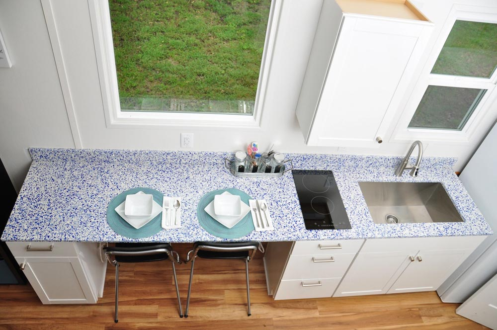 Recycled Glass Countertop - Baby Blue by Indigo River Tiny Homes