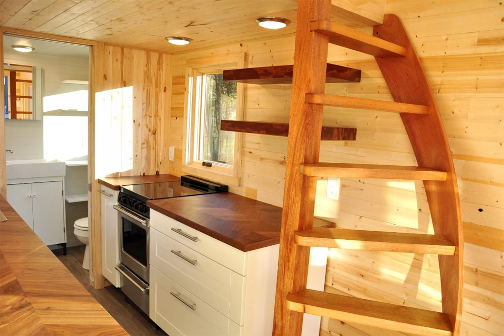 Ladder & Kitchen - Big Blue by Indigo River Tiny Homes