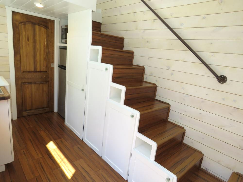 Storage Staircase - Roomy Retreat 24' by Sierra Tiny Houses