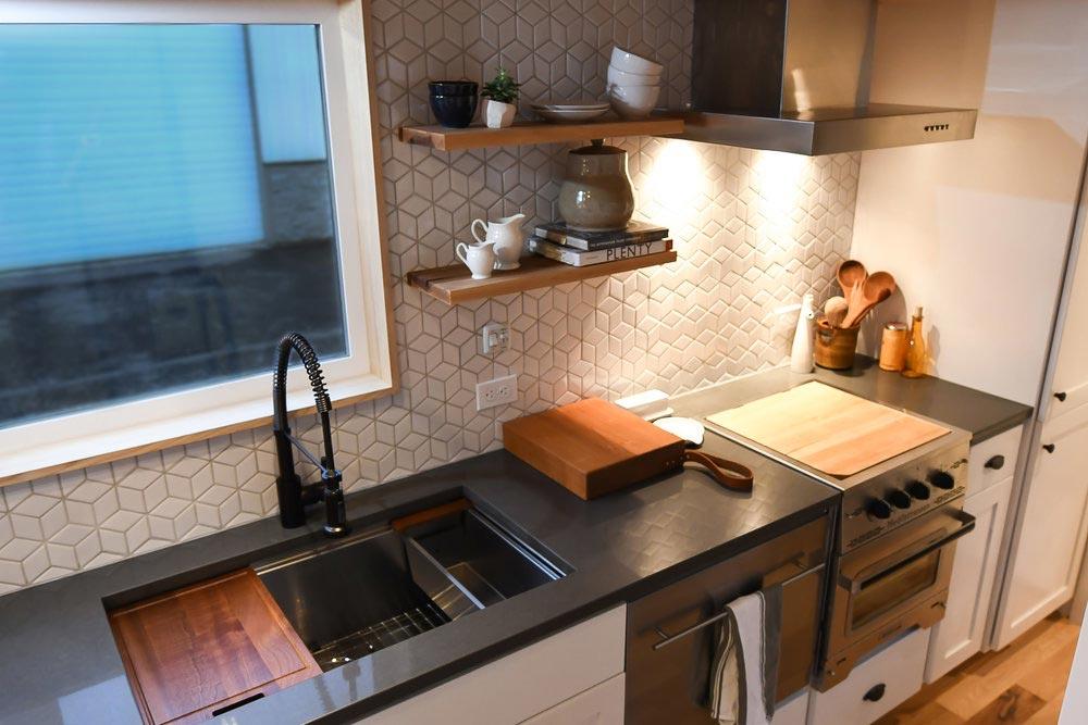White Tile Backsplash - Urban Kootenay 28' w/ XL Dormer by TruForm Tiny
