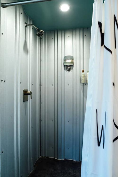 Corrugated Metal Shower - ATL Eco Container Unit One