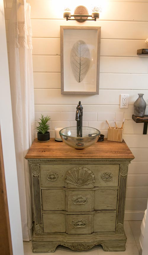 Antique Vanity - Archway Tiny Home by Tiny Heirloom