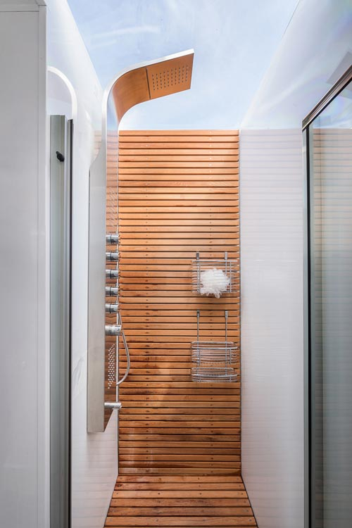 Teak Wood Shower - Living Vehicle