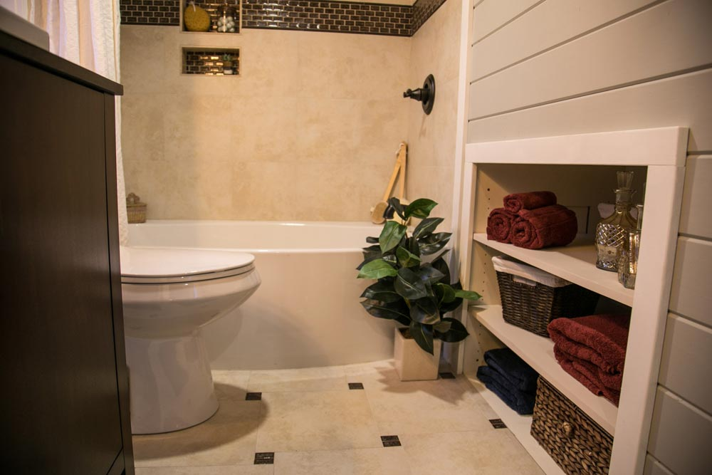 Tile Bathroom - Theater Home by Tiny Heirloom