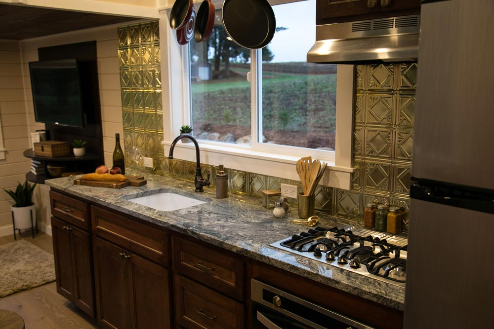 Gold Metal Backsplash - Theater Home by Tiny Heirloom