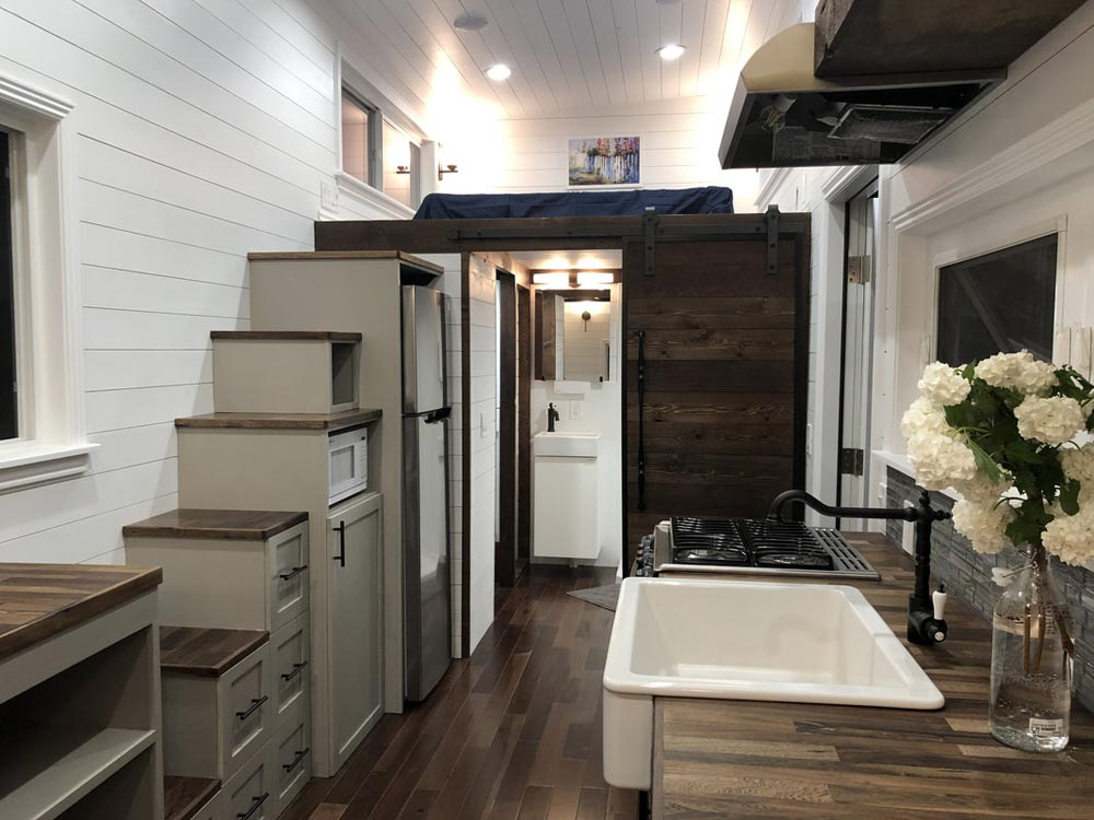 Storage Stairs & Barn Door - White House by Sun Bear Tiny Homes