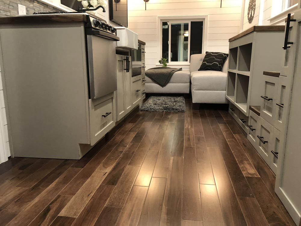 Brazilian Pecan Hardwood Floors - White House by Sun Bear Tiny Homes
