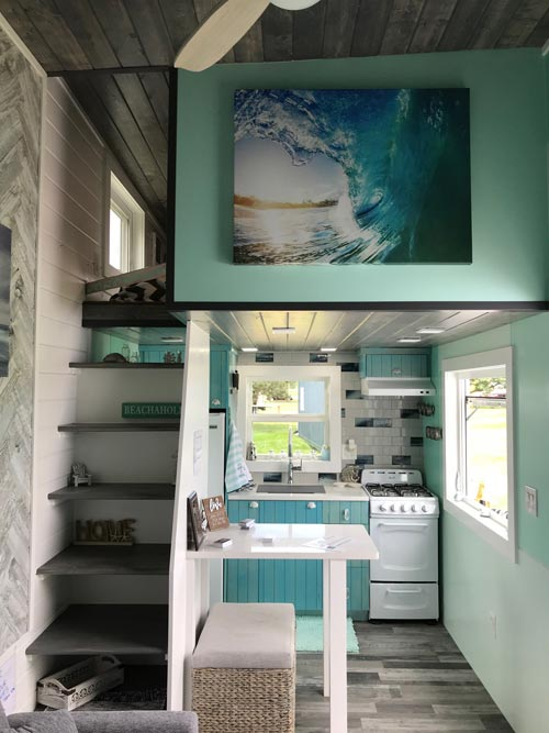 Kitchen & Loft - Serving Window - Beach House by Kamtz Tiny Home Company