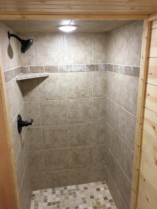 Tile Shower - New Beginning by Rafter B Tiny Homes