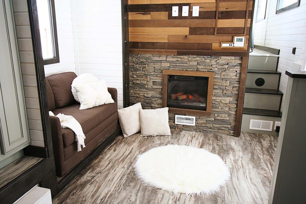 Living Room w/ Fireplace - Family-Friendly Carpathian by Tiny Idahomes