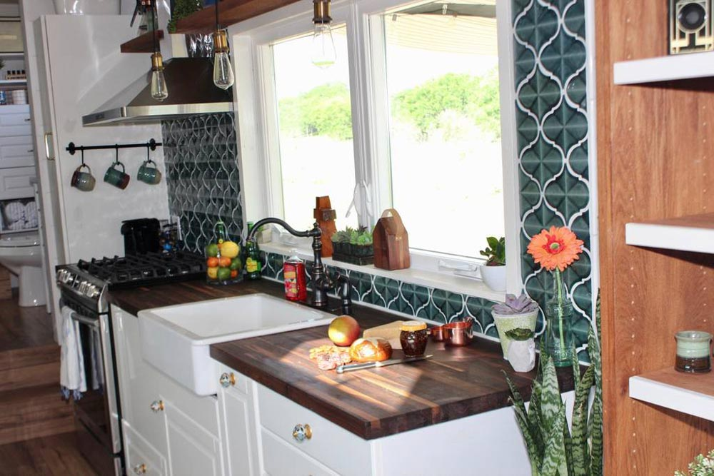 Walnut Counter - Bohemian Bungalow by Hill Country Tiny Houses