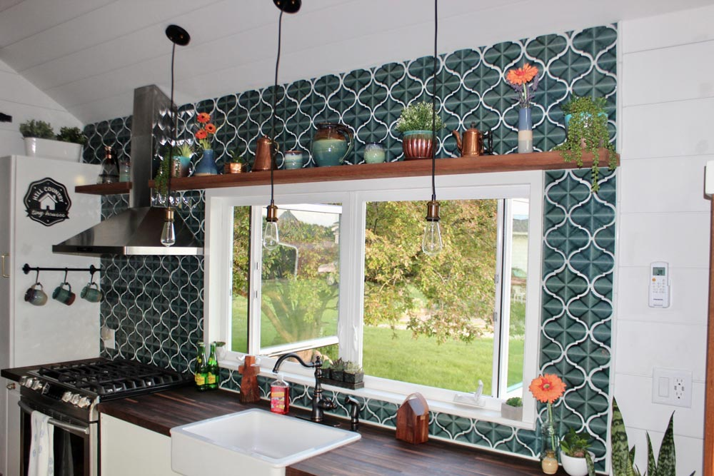 Mosaic Tile Backsplash - Bohemian Bungalow by Hill Country Tiny Houses