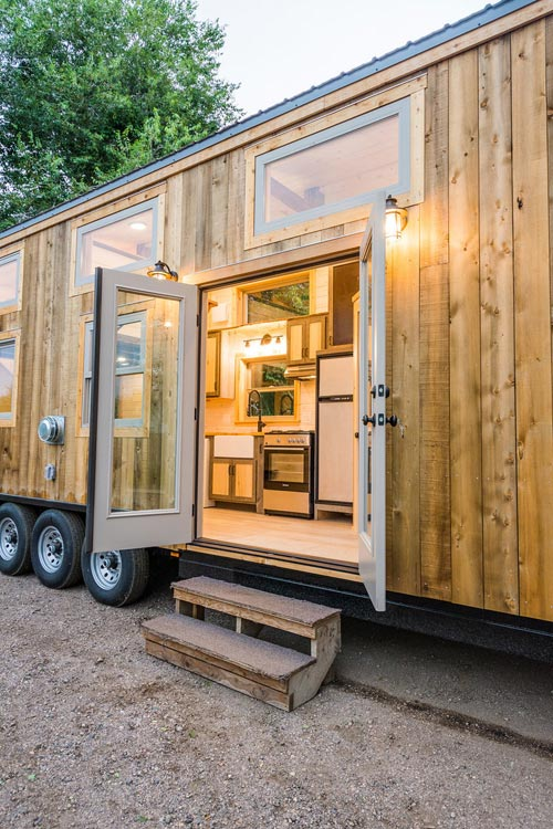 French Doors - Heather's 37' Gooseneck Tiny House by Mitchcraft Tiny Homes