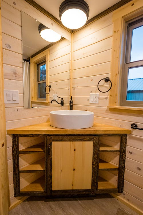 Corner Vanity - Heather's 37' Gooseneck Tiny House by Mitchcraft Tiny Homes