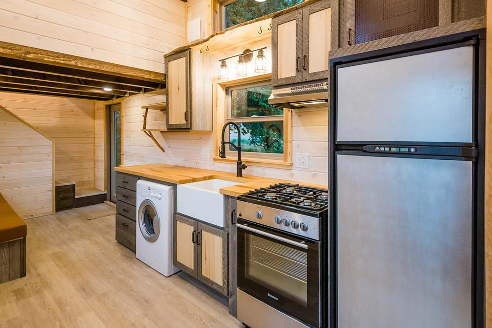 Rustic Kitchen - Heather's 37' Gooseneck Tiny House by Mitchcraft Tiny Homes
