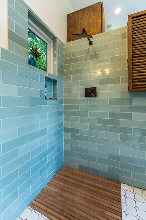 Tile & Teak Shower - Urban Chalet