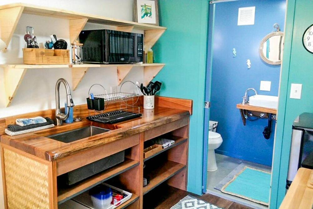 Wood Counter - Big Island Container Home