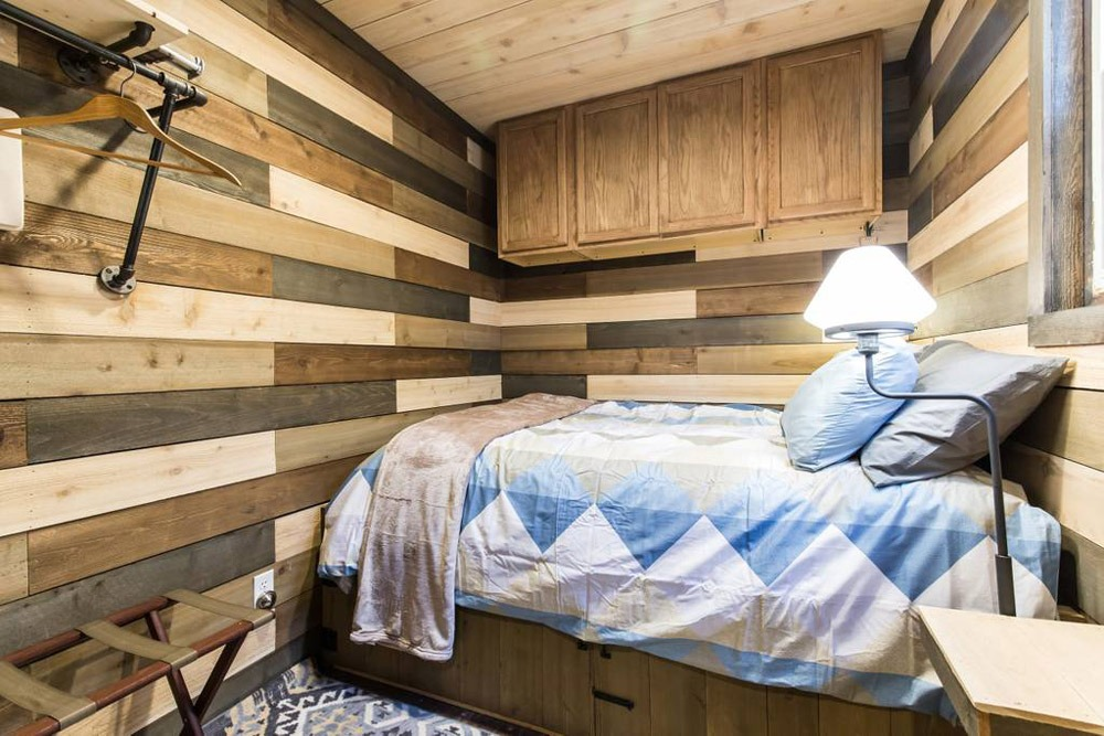 Queen Bedroom - Blue Steel Tiny Container Home